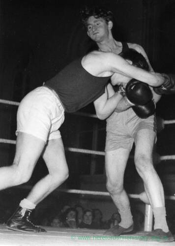 A boxing match in full swing.