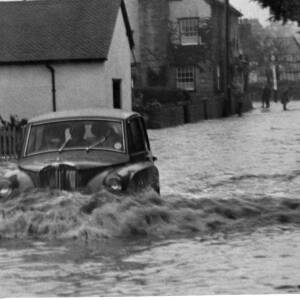 Driving through floodwater in Herefordshire.