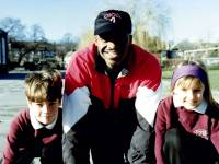 Chris Akabusi at Hillcross School