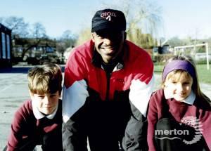 Chris Akabusi at Hillcross School