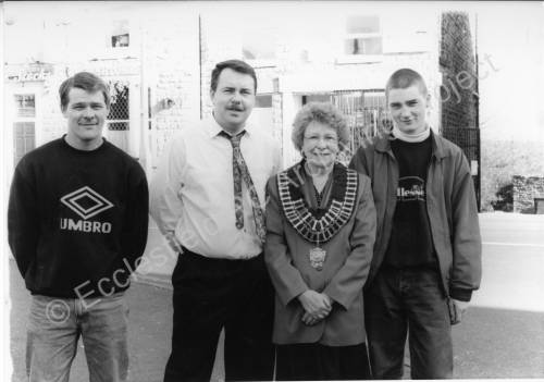 E.P.C. Chair Cllr. Audrey Trickett with group outside the Stocks Ecclesfield 1997/8.