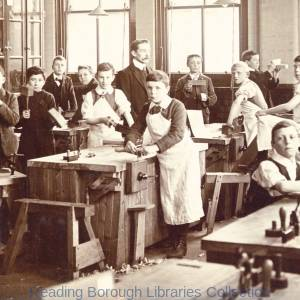 Redlands School, Lydford Road, Reading, c1910. A woodwork class, 1910-1919.