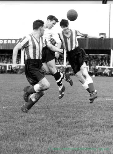 Hereford United action at Edgar Street, 1950s.