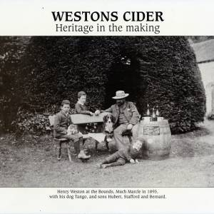 Westons cider - Henry Weston at the Bounds, Much Marcle in 1895, with sons Hubert, Stafford and Bernard plus dog Tango