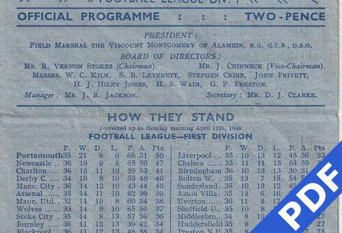 19490415 Official Programme Crystal Palace Home FCC