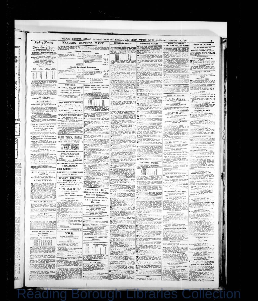 Reading Mercury Oxford Gazette Saturday, January 16, 1915.  Pg 3