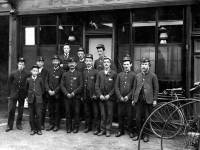 Group of postmen outside the post office near Mitcham Station