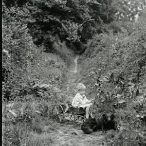 G36-007-07 Boy sitting in small cart with dog.jpg
