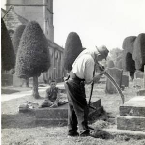 Scythe cutting , Painswick Church, c1930
