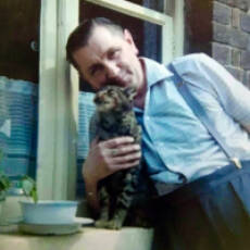 1960s Ted Warren and his cat