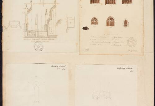 Various sketches of church interior
