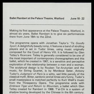 Watford Palace Theatre, June 1974