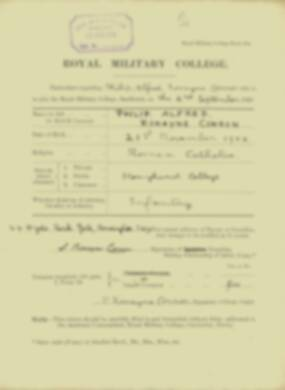 Philip Conron -  RMC Form 18A Personal Detail Sheets Jan & Sept 1920 Intake