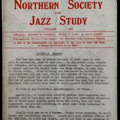 Northern Society For Jazz Study Vol.1 No.8 0001