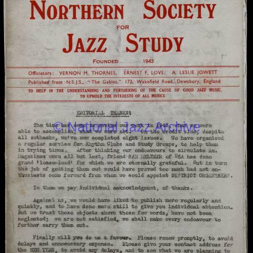 Northern Society For Jazz Study Vol.1 No.8 0001