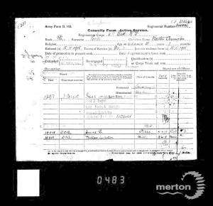 Service Record (Casualty Form), for Private Walter Carrington Rooke