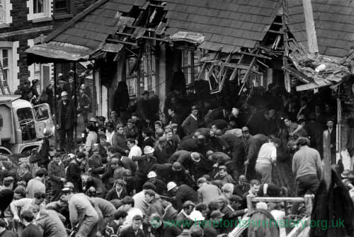 People helping in the rubble of the Aberfan Disaster, 1966