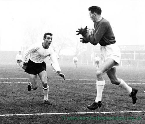Goalkeeper collects at a misty Edgar Street, 1950s.