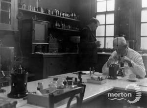 Dr.Frank Deas in the laboratory at Nelson Hospital