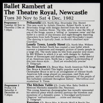 Theatre Royal, Newcastle upon Tyne, November–December 1982