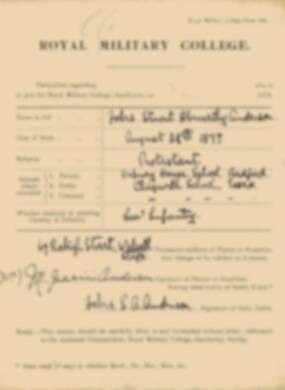 RMC Form 18A Personal Detail Sheets May 1915 Intake - page 4