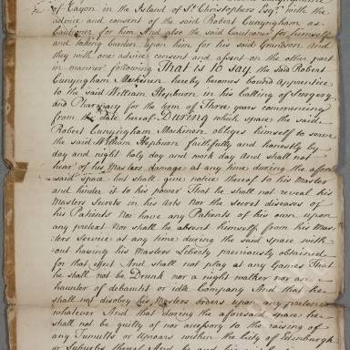 Indenture between William Hepburn, surgeon apothecary of Edinburgh and Robert Cunyingham
