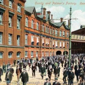 Workers outside Huntley and Palmers biscuit factory, looking eastwards along King's Road, Reading, c1905