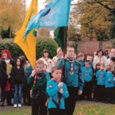 2007 Scouts at the Houghton Regis Memorial Stone on Remembrance Day November 11th