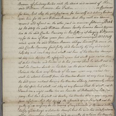 Indenture between Charles Ramsay, surgeon apothecary and William Brown