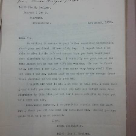 Letter to the father of Raymond E Wilson