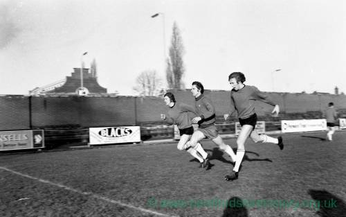 Hereford United footballers in training in January 1972.