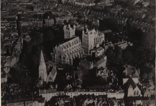 Aeriel view of Exeter Cathedral and surrounding area, c1930, Exeter