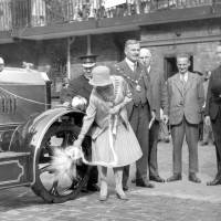 Bootle, the Mayoress christening a fire engine, 1929