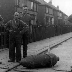 Removing an unexploded bomb from Harton House Road
