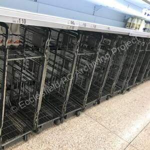 Asda supermarket shelves, bare during pandemic