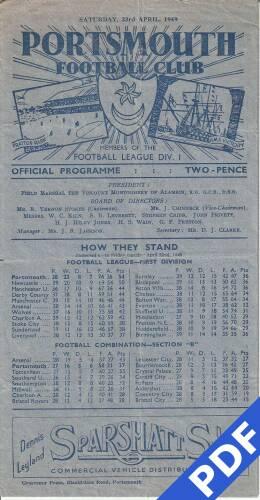 19490423 Official Programme Southampton Home Pickford Shield