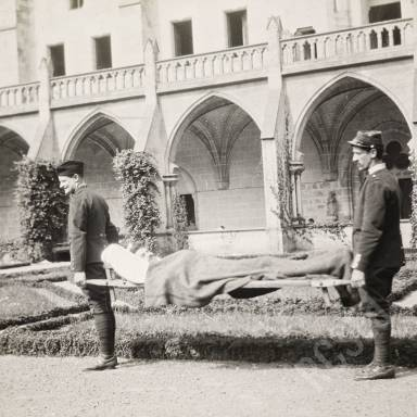 Stretcher Bearers Carrying the Wounded in the Cloisters at Royaumont Abbey