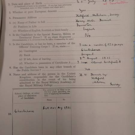 Service Record - George Weston Devenish