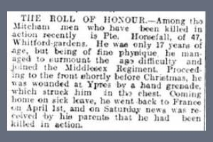 Newspaper Extract - Recording the death of Harri Horsfall