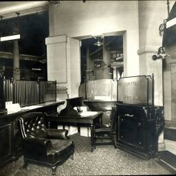 Photograph showing the working space behind the 'special accounts' counter in the head office of Banque Suisse et Française