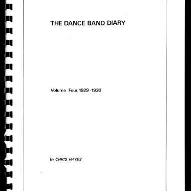 Dance Band Diaries Volume 4 1929-1930