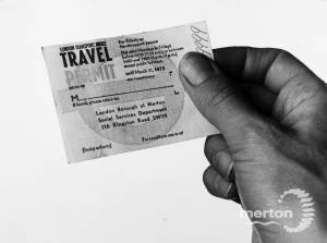 Travel Permit for Elderly or Disabled Person.