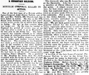 Newspaper Extract regarding John Henry Tallick