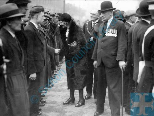 Lady Haig reviewing WW1 ex-servicemen, Bootle, 1931
