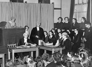 A mock trial at Willows County School, Central Road, Morden