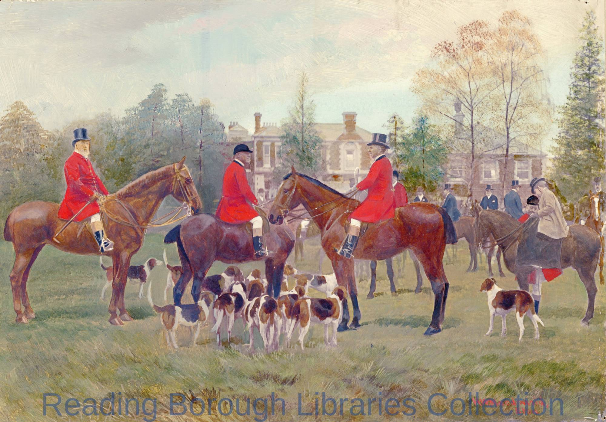 A hunting scene with a large house in the background, 1901. By H. W. Macdonald of Eton.
