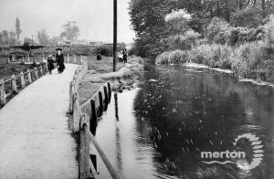The River Wandle, showing Pickle Path and surviving portions of Merton Priory wall