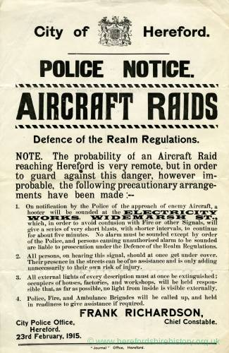 Aircraft raids police notice, City of Hereford, 1915