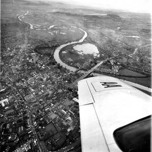 Aerial view of Hereford, showing flooded areas receding