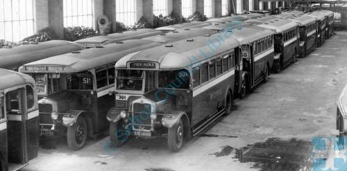 Buses in Irlam Road Garage after replacement by Ribble buses, 1933